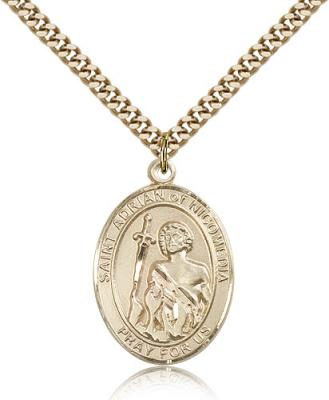 "Gold Filled St. Adrian of Nicomedia Pendant, Stainless Gold Heavy Curb Chain, Large Size Catholic Medal, 1"" x 3/4"""