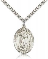 "Sterling Silver St. Adrian of Nicomedia Pendant, Stainless Silver Heavy Curb Chain, Large Size Catholic Medal, 1"" x 3/4"""