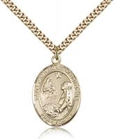 "Gold Filled St. Catherine of Bologna Pendant, Stainless Gold Heavy Curb Chain, Large Size Catholic Medal, 1"" x 3/4"""