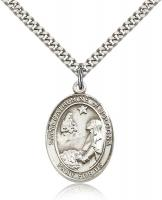 "Sterling Silver St. Catherine of Bologna Pendant, Stainless Silver Heavy Curb Chain, Large Size Catholic Medal, 1"" x 3/4"""