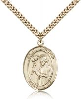 "Gold Filled St. Dunstan Pendant, Stainless Gold Heavy Curb Chain, Large Size Catholic Medal, 1"" x 3/4"""