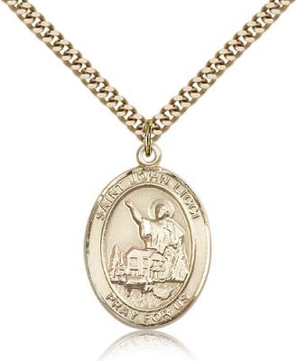 "Gold Filled St. John Licci Pendant, Stainless Gold Heavy Curb Chain, Large Size Catholic Medal, 1"" x 3/4"""