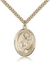 "Gold Filled St. Paula Pendant, Stainless Gold Heavy Curb Chain, Large Size Catholic Medal, 1"" x 3/4"""