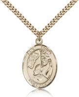 "Gold Filled St. Edwin Pendant, Stainless Gold Heavy Curb Chain, Large Size Catholic Medal, 1"" x 3/4"""