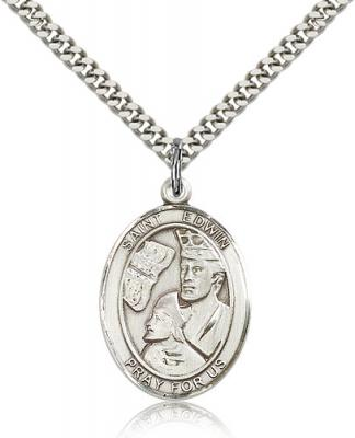 "Sterling Silver St. Edwin Pendant, Stainless Silver Heavy Curb Chain, Large Size Catholic Medal, 1"" x 3/4"""
