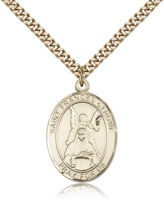 "Gold Filled St. Frances Of Rome Pendant, SG Heavy Curb Chain, Large Size Catholic Medal, 1"" x 3/4"""