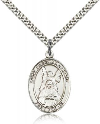 "Sterling Silver St. Frances of Rome Pendant, Stainless Silver Heavy Curb Chain, Large Size Catholic Medal, 1"" x 3/4"""