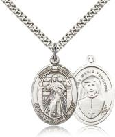 "Sterling Silver Divine Mercy Pendant, SN Heavy Curb Chain, Large Size Catholic Medal, 1"" x 3/4"""