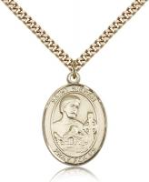 "Gold Filled St. Kieran Pendant, SG Heavy Curb Chain, Large Size Catholic Medal, 1"" x 3/4"""