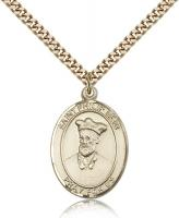 "Gold Filled St. Philip Neri Pendant, SG Heavy Curb Chain, Large Size Catholic Medal, 1"" x 3/4"""