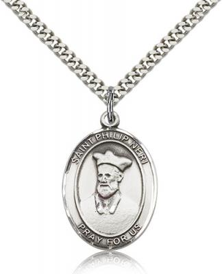 "Sterling Silver St. Philip Neri Pendant, SN Heavy Curb Chain, Large Size Catholic Medal, 1"" x 3/4"""
