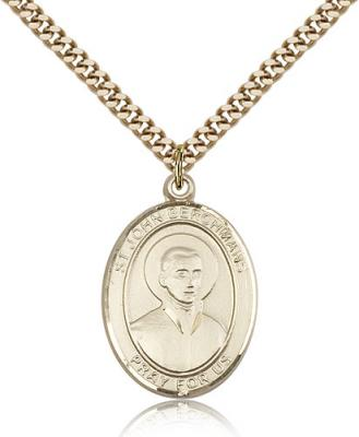"Gold Filled St. John Berchmans Pendant, SG Heavy Curb Chain, Large Size Catholic Medal, 1"" x 3/4"""