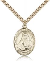 "Gold Filled St. Rose Philippine Pendant, SG Heavy Curb Chain, Large Size Catholic Medal, 1"" x 3/4"""