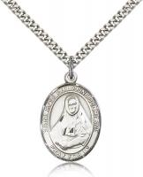"Sterling Silver St. Rose Philippine Pendant, Stainless Silver Heavy Curb Chain, Large Size Catholic Medal, 1"" x 3/4"""