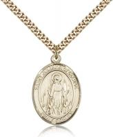 "Gold Filled St. Juliana Pendant, SG Heavy Curb Chain, Large Size Catholic Medal, 1"" x 3/4"""