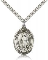 "Sterling Silver St. Juliana Pendant, SN Heavy Curb Chain, Large Size Catholic Medal, 1"" x 3/4"""