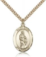 "Gold Filled St. Anne Pendant, SG Heavy Curb Chain, Large Size Catholic Medal, 1"" x 3/4"""