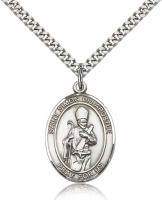 "Sterling Silver St. Simon Pendant, SN Heavy Curb Chain, Large Size Catholic Medal, 1"" x 3/4"""