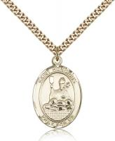 "Gold Filled St. Honorius Pendant, SG Heavy Curb Chain, Large Size Catholic Medal, 1"" x 3/4"""
