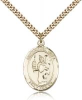 "Gold Filled St. Uriel Pendant, SG Heavy Curb Chain, Large Size Catholic Medal, 1"" x 3/4"""