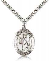 "Sterling Silver St. Uriel Pendant, SN Heavy Curb Chain, Large Size Catholic Medal, 1"" x 3/4"""