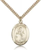 "Gold Filled St. Marina Pendant, SG Heavy Curb Chain, Large Size Catholic Medal, 1"" x 3/4"""