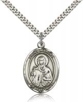"Sterling Silver St. Marina Pendant, SN Heavy Curb Chain, Large Size Catholic Medal, 1"" x 3/4"""