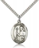 "Sterling Silver St. Regis Pendant, SN Heavy Curb Chain, Large Size Catholic Medal, 1"" x 3/4"""