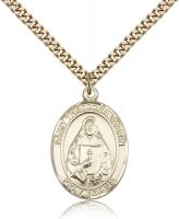 "Gold Filled St. Theodore Guerin Pendant, SG Heavy Curb Chain, Large Size Catholic Medal, 1"" x 3/4"""