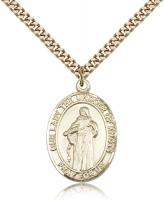 "Gold Filled Our Lady of Knots Pendant, SG Heavy Curb Chain, Large Size Catholic Medal, 1"" x 3/4"""