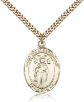 "Gold Filled St. Ivo Pendant, SG Heavy Curb Chain, Large Size Catholic Medal, 1"" x 3/4"""