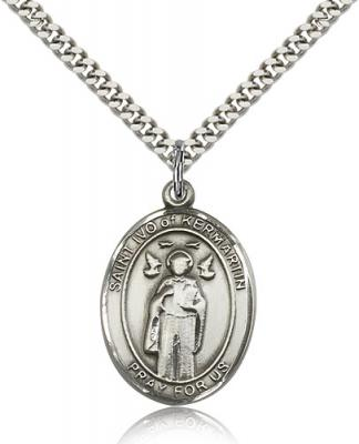 "Sterling Silver St. Ivo Pendant, SN Heavy Curb Chain, Large Size Catholic Medal, 1"" x 3/4"""