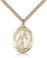 "Gold Filled St. Raymond of Penafort Pendant, SG Heavy Curb Chain, Large Size Catholic Medal, 1"" x 3/4"""