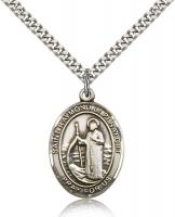 "Sterling Silver St. Raymond of Penafort Pendant, SN Heavy Curb Chain, Large Size Catholic Medal, 1"" x 3/4"""