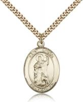 "Gold Filled St. Drogo Pendant, SG Heavy Curb Chain, Large Size Catholic Medal, 1"" x 3/4"""