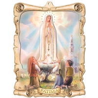 Our Lady of Fatima Wood 3D Plaque PR106FA