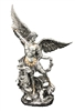 St. Michael Statue Pewter Style with Gold Trim 10inches SR-74997-PE