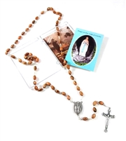 OLIVE WOOD BEAD ROSARY WITH RELIC TOUCHED TO LOURDES GROTTO