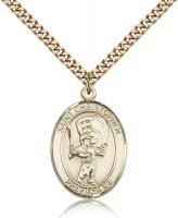"Gold Filled St. Christopher/Baseball Pendant, SG Heavy Curb Chain, Large Size Catholic Medal, 1"" x 3/4"""