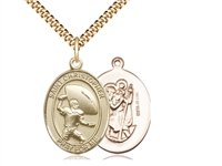 "Gold Filled St. Christpher / Football Pendant, SG Heavy Curb Chain, Large Size Catholic Medal, 1"" x 3/4"""