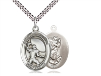 "Sterling Silver St. Christopher/Football Pendant, Stainless Silver Heavy Curb Chain, Large Size Catholic Medal, 1"" x 3/4"""