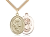 "Gold Filled St. Christopher/Basketball Pendant, SG Heavy Curb Chain, Large Size Catholic Medal, 1"" x 3/4"""