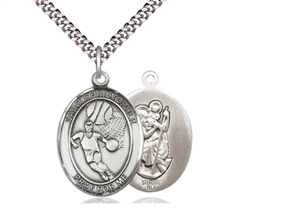 "Sterling Silver St. Christopher Pendant, Stainless Silver Heavy Curb Chain, Large Size Catholic Medal, 1"" x 3/4"""