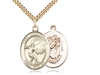 "Gold Filled St. Christopher/Soccer Pendant, SG Heavy Curb Chain, Large Size Catholic Medal, 1"" x 3/4"""