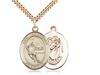 "Gold Filled St. Christopher/Hockey Pendant, SG Heavy Curb Chain, Large Size Catholic Medal, 1"" x 3/4"""