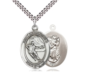 "Sterling Silver St. Christopher/Hockey Pendant, Stainless Silver Heavy Curb Chain, Large Size Catholic Medal, 1"" x 3/4"""