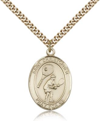 "Gold Filled St. Christopher/Tennis Pendant, SG Heavy Curb Chain, Large Size Catholic Medal, 1"" x 3/4"""