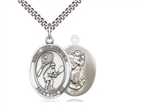 "Sterling Silver St. Christopher/Tennis Pendant, Stainless Silver Heavy Curb Chain, Large Size Catholic Medal, 1"" x 3/4"""