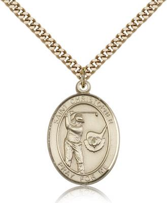 "Gold Filled St. Christopher/Golf Pendant, SG Heavy Curb Chain, Large Size Catholic Medal, 1"" x 3/4"""
