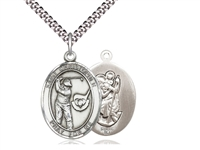 "Sterling Silver St. Christopher / Golf Pendant, Stainless Silver Heavy Curb Chain, Large Size Catholic Medal, 1"" x 3/4"""